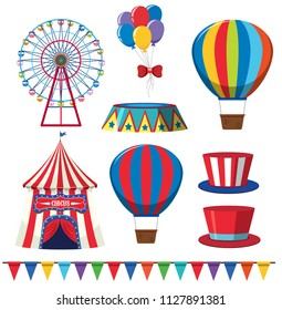 A Set of Theme Park or Circus Elements illustration