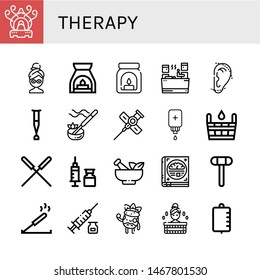 Set of therapy icons such as Incense burner, Facial mask, Aromatherapy, Aroma, Sauna, Otoplasty, Crutch, Incense, Cannula, Intravenous saline drip, Acupuncture, Syringe , therapy