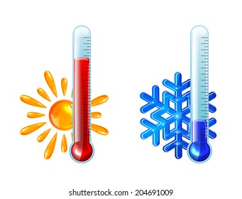 Set of thermometers with red and blue indicator isolated on white background, illustration.