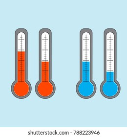 Set of thermometers with red and blue indicator. Illustration. Vector.