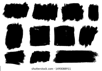 Set of thick brushstrokes. Irregular drawing strokes. Vector brush stroke background. Texture and grunge style. Stain illustration.