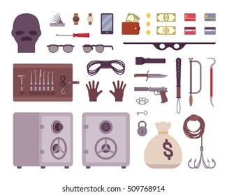 Set of thief tools isilated on a white background. Cartoon vector flat-style illustration