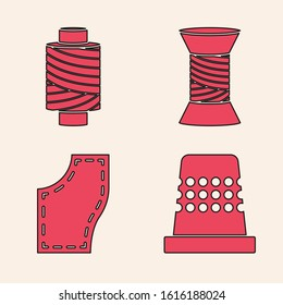 Set Thimble for sewing, Sewing thread on spool, Sewing thread on spool and Sewing Pattern icon. Vector
