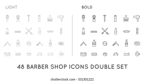 Set of Thin and Bold Vector Barber Shop Elements and Shave Shop Icons Illustration can be used as Logo or Icon in premium quality