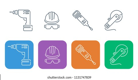 Set of thin building and repair icons. Elements of construction and repair, power tools and protection of face and head, demounting puncher, cordless screwdriver and angle grinder.