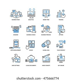 Set of thin flat line icons. Can be used for web design, user interface, infographic and other projects. Simple pictogram set