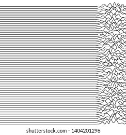 Set of thin horizontal wavy lines. Waveforms similar to vintage radio pulsar graphs. Vector pattern of fluid geometric linear waves. Black and white.