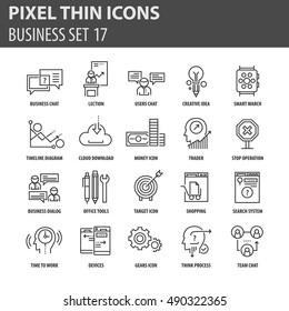 Set of thin icons, business flat elements pack