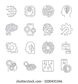 Set of thin icons related to artificial intelligence and data science mono line. Editable Stroke. EPS 10