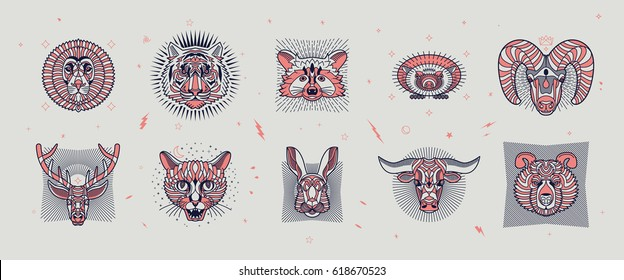 Set of thin line animal icons. Abstract graphic design logo, badge, label, sticker. Vector stock illustration.