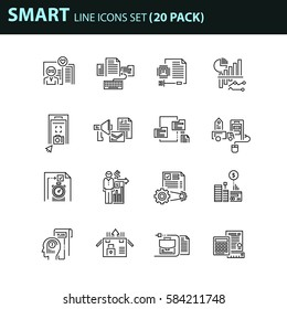 Set of thin line business icons. 16 elements creative pack, flat design