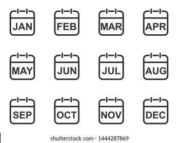 Set of thin line calendar icons depicting all 12 months