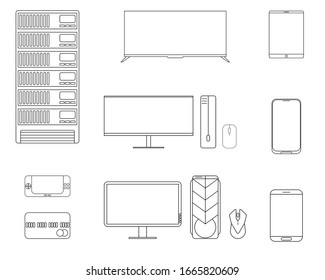 Set of Thin line computers on a white background