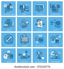 Set of thin line concept icons of distance education, online training, skill development, education apps. Premium quality icons for website, mobile website and app design.