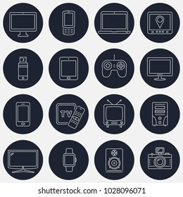 Set of thin line devices icons for mobile apps and web design