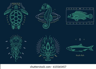 Set of thin line fish and sea life icons. Abstract graphic design logo, patch, badge, label, sticker. Vector stock illustration.