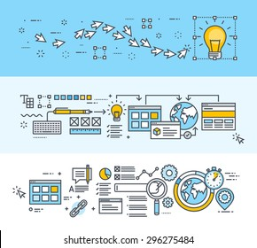 Set of thin line flat design concept banners for creative process, big idea, website and app design and development, SEO. Modern vector illustrations for website banners and promotional materials.