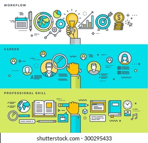 Set of thin line flat design banners for workflow, career, professional skill, human resources business process, education. Vector illustrations for web banners and promotional materials.