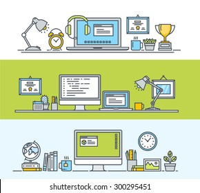 Set of thin line flat design concepts of modern workspace for web and app design and development. Vector illustrations for web banners and promotional materials.