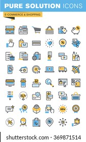 Set of thin line flat design icons of e-commerce and shopping. Icons for websites, mobile websites and apps, easy to use and highly customizable.