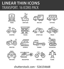Set of thin line flat icons. Elements and pictograms for infographic, user interface, presentation and other design materials. Good quality collection transport concept.