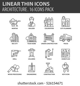 Set of thin line flat icons. Elements and pictograms for infographic, user interface, presentation and other design materials. Good quality collection architecture concept.