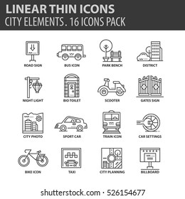 Set of thin line flat icons. Elements and pictograms for infographic, user interface, presentation and other design materials. Good quality collection city and transport concept.