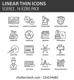 Set of thin line flat icons. Elements and pictograms for infographic, user interface, presentation and other design materials. Good quality collection science concept.