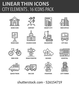 Set of thin line flat icons. Elements and pictograms for infographic, user interface, presentation and other design materials. Good quality collection city and transport concept