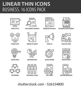 Set of thin line flat icons. Elements and pictograms for infographic, user interface, presentation and other design materials. Good quality collection business concept