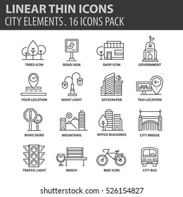 Set of thin line flat icons. Elements and pictograms for infographic, user interface, presentation and other design materials. Good quality collection city and street concept.