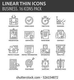 Set of thin line flat icons. Elements and pictograms for infographic, user interface, presentation and other design materials. Good quality collection business concept.