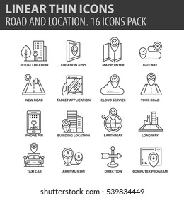 Set of thin line flat icons. Elements and pictograms for infographic, user interface, presentation and other design materials. Good quality collection location and road concept