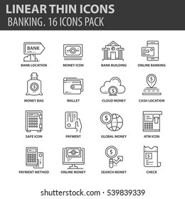 Set of thin line flat icons. Elements and pictograms for infographic, user interface, presentation and other design materials. Good quality collection banking concept