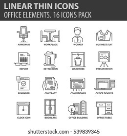 Set of thin line flat icons. Elements and pictograms for infographic, user interface, presentation and other design materials. Good quality collection office concept
