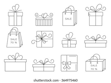 Set of thin line gift icons.