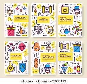 Set of thin line happy hanukkah day pattern concept. Art jewish traditional, magazine, book, poster, abstract, banners, element. Vector Israel outline package greeting card or invitation brochure