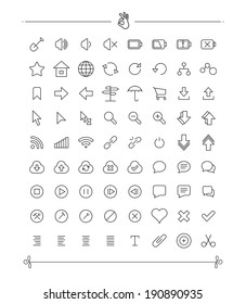 Set of Thin line Icon Collection