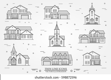 Set of thin line icon suburban american houses and churches. For web design and application interface, also useful for infographics. Vector illustration. Vector dark grey.