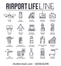 Set of thin line icons about business and tourist air trips isolated on white. Outline airport life and services pictograms collection. Flight and travel logos. Vector elements for infographic, web.