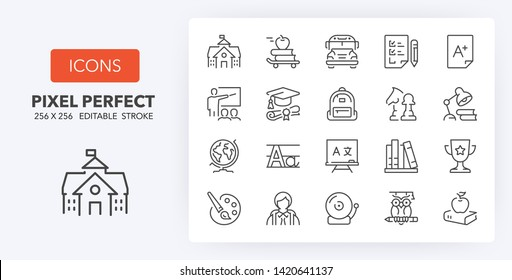 Set of thin line icons of academic subjects and education. Outline symbol collection. Editable vector stroke. 256x256 Pixel Perfect scalable to 128px, 64px...