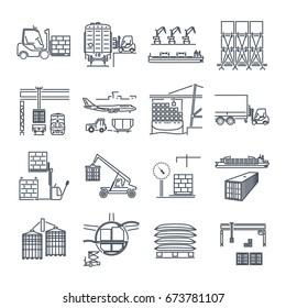 set of thin line icons air, sea, rail freight terminal, storage