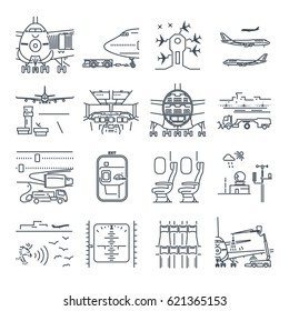set of thin line icons airport and airplane, ground handling, plane  maintenance