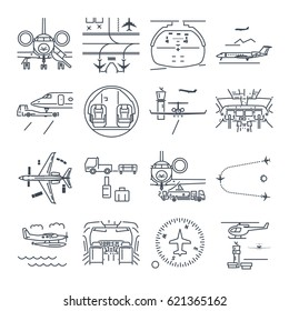 set of thin line icons airport and airplane, business jet