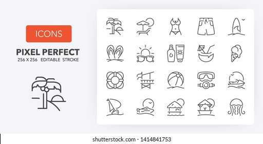 Set of thin line icons of beach activities and summer. Outline symbol collection. Editable vector stroke. 256x256 Pixel Perfect scalable to 128px, 64px...