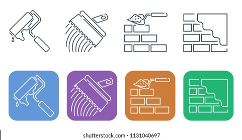 Set of thin line icons for building. Construction and decoration of walls.