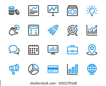 Set of thin line icons for business and marketing. Collection of outline icons of corporate development.