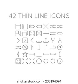 Set of thin line icons with different arrows