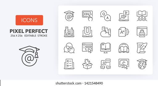 Set of thin line icons of e-learning and online education. Outline symbol collection. Editable vector stroke. 256x256 Pixel Perfect scalable to 128px, 64px...