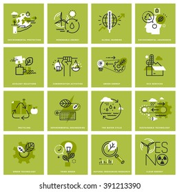 Set of thin line icons of environment, renewable energy, sustainable technology, recycling, ecology solutions. Premium quality icons for website, mobile website and app design.